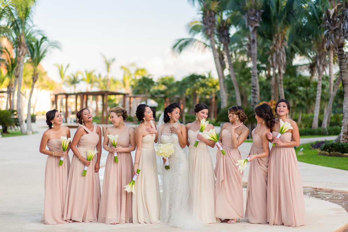 Bridesmaids in garden Secrets Maroma wedding