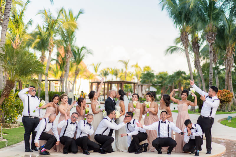 Fun photo of bridal party in Riviera Cancun, Mexico