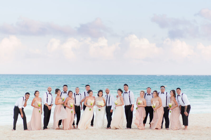 Wedding Party on beach at Secrets Maroma Beach Riviera Maya, Cancun