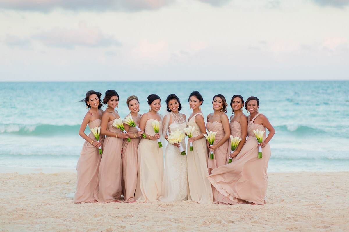Bridesmaids on beach at Secrets Maroma