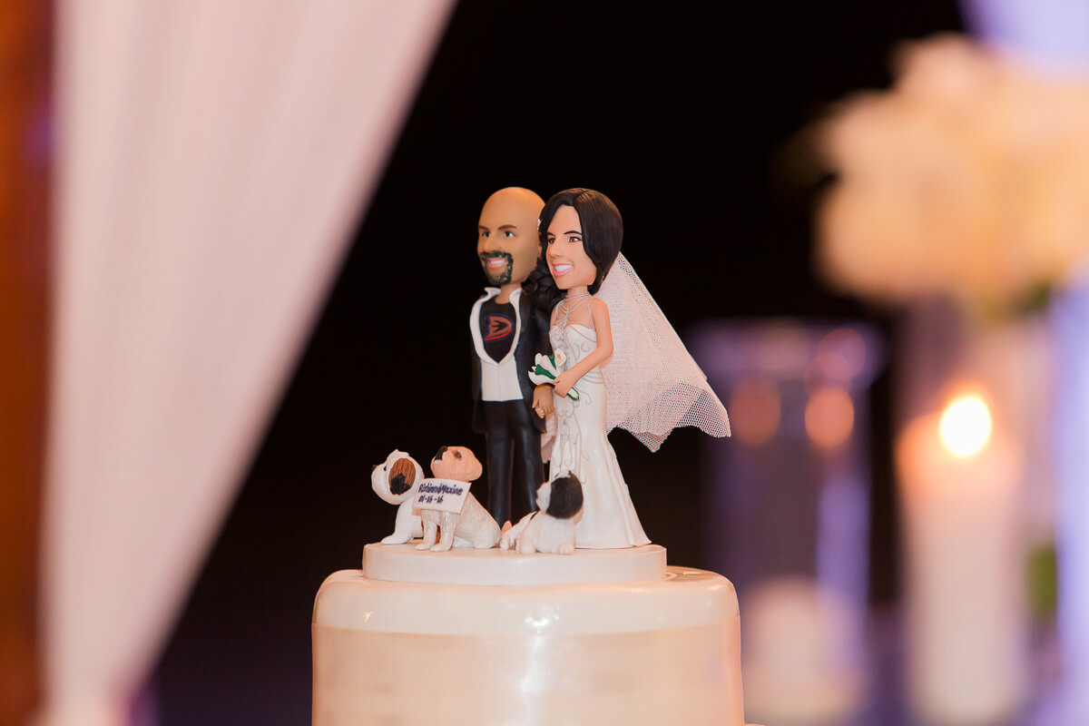 Cake topper at destination wedding