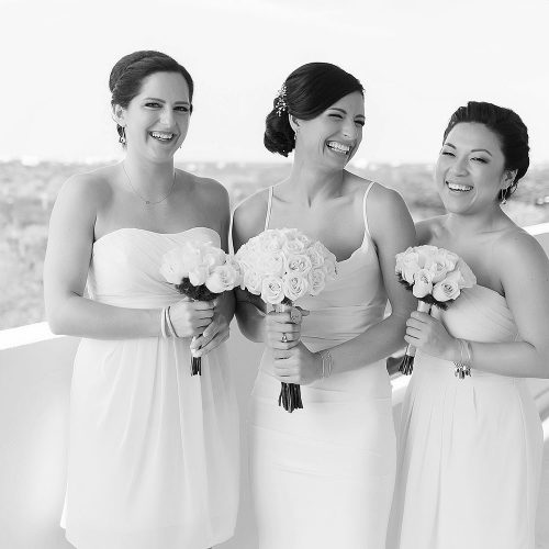 Black and white of bride and bridesmaids before wedding at Secrets Akumal Riviera Maya
