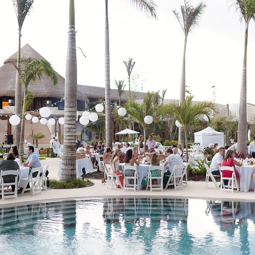 Poolside wedding reception location at Secrets Akumal Riviera Maya