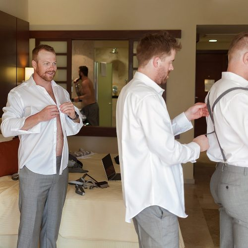 Groom getting ready at Riviera Maya Wedding