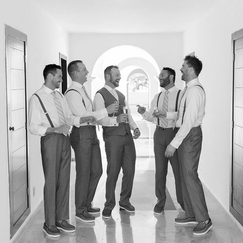 Black and white groomsmen in Playa del Carmen Wedding