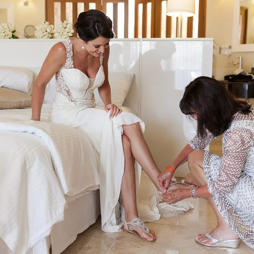 bride getting ready at Playa del Carmen Riviera Maya wedding
