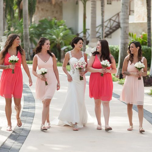 Bridal party walking toward ceremony at Playa del Carmen Riviera Maya