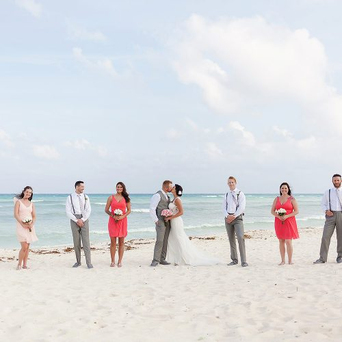 Bridal party photography at Playa del Carmen Riviera Maya wedding