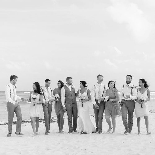 Black and white bridal party on beachwedding photography at Playa del Carmen