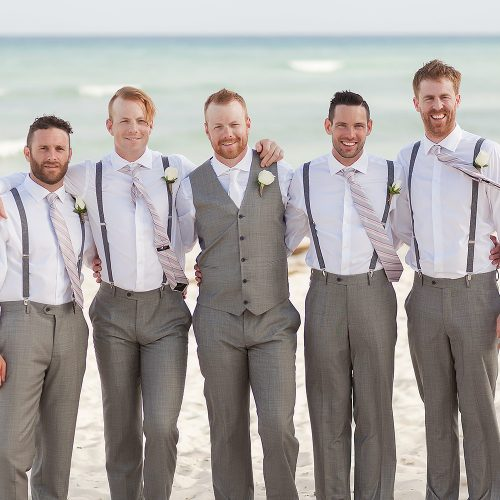 groomsmen on beach for Riviera Maya Wedding