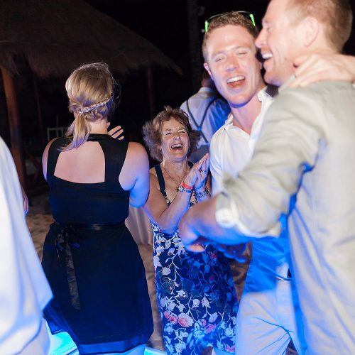 Guests dancing at wedding reception at Playa del Carmen Riviera Maya