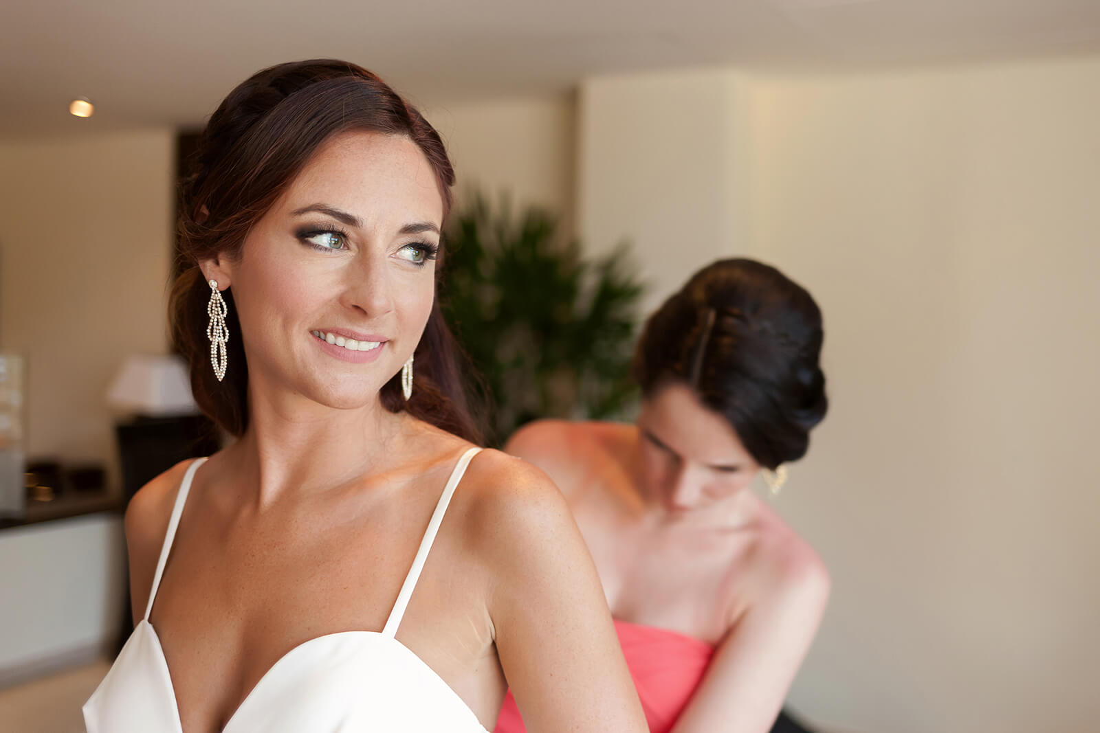 Bride Bridesmaid moment Grand Sirenis Riviera Maya Wedding
