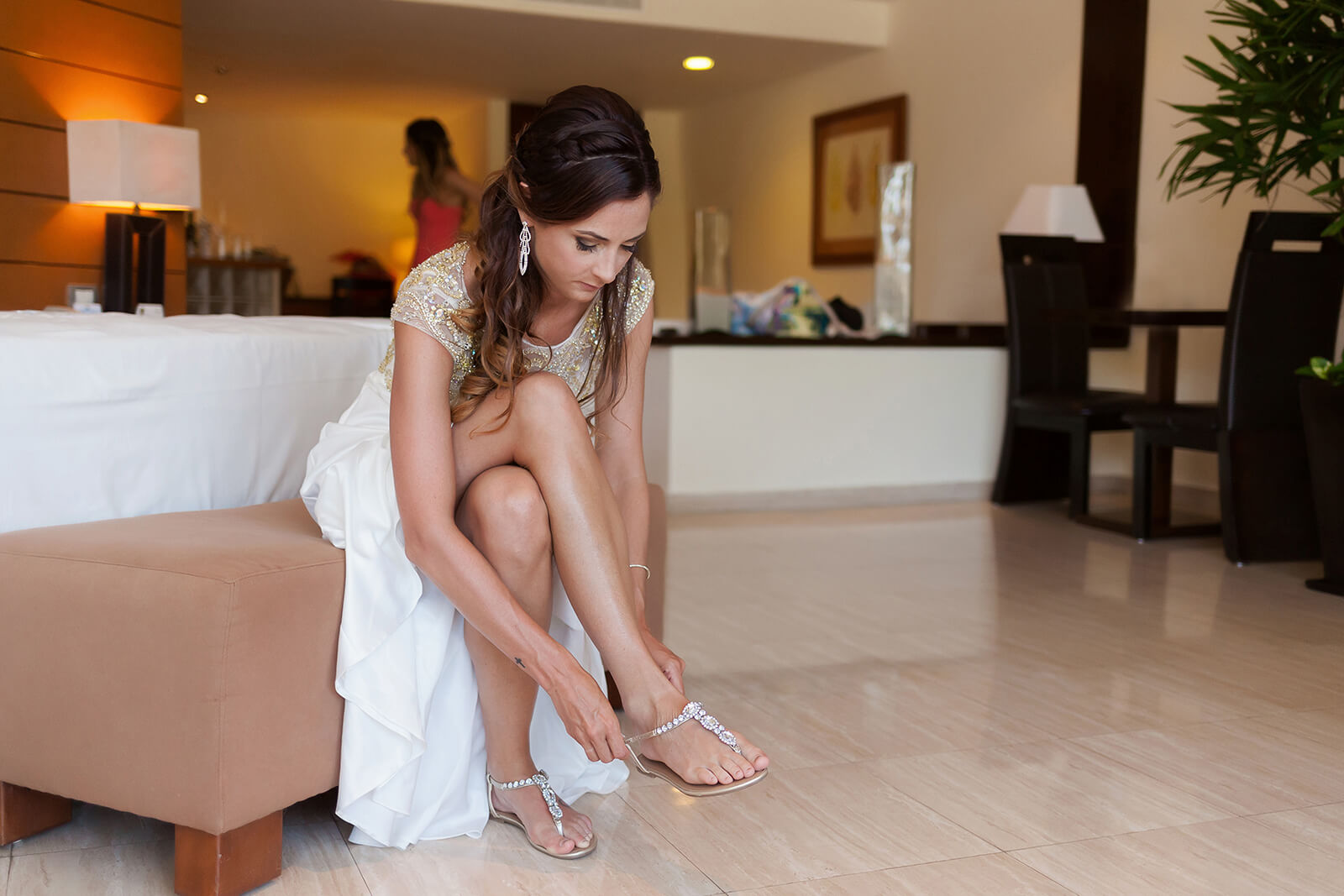 Gorgeous Bride wearing foot jewelry Riviera Maya Wedding