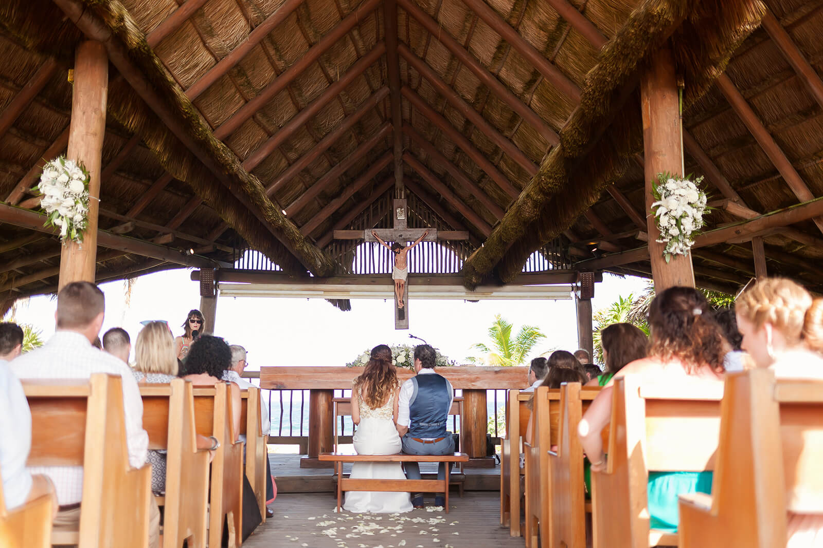 Bride and Groom in chapel Grand Sirenis Riviera Maya