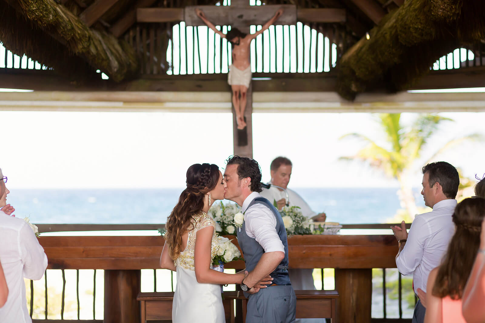 Bride and Groom kissing at Grand Sirenis Riviera Maya Wedding