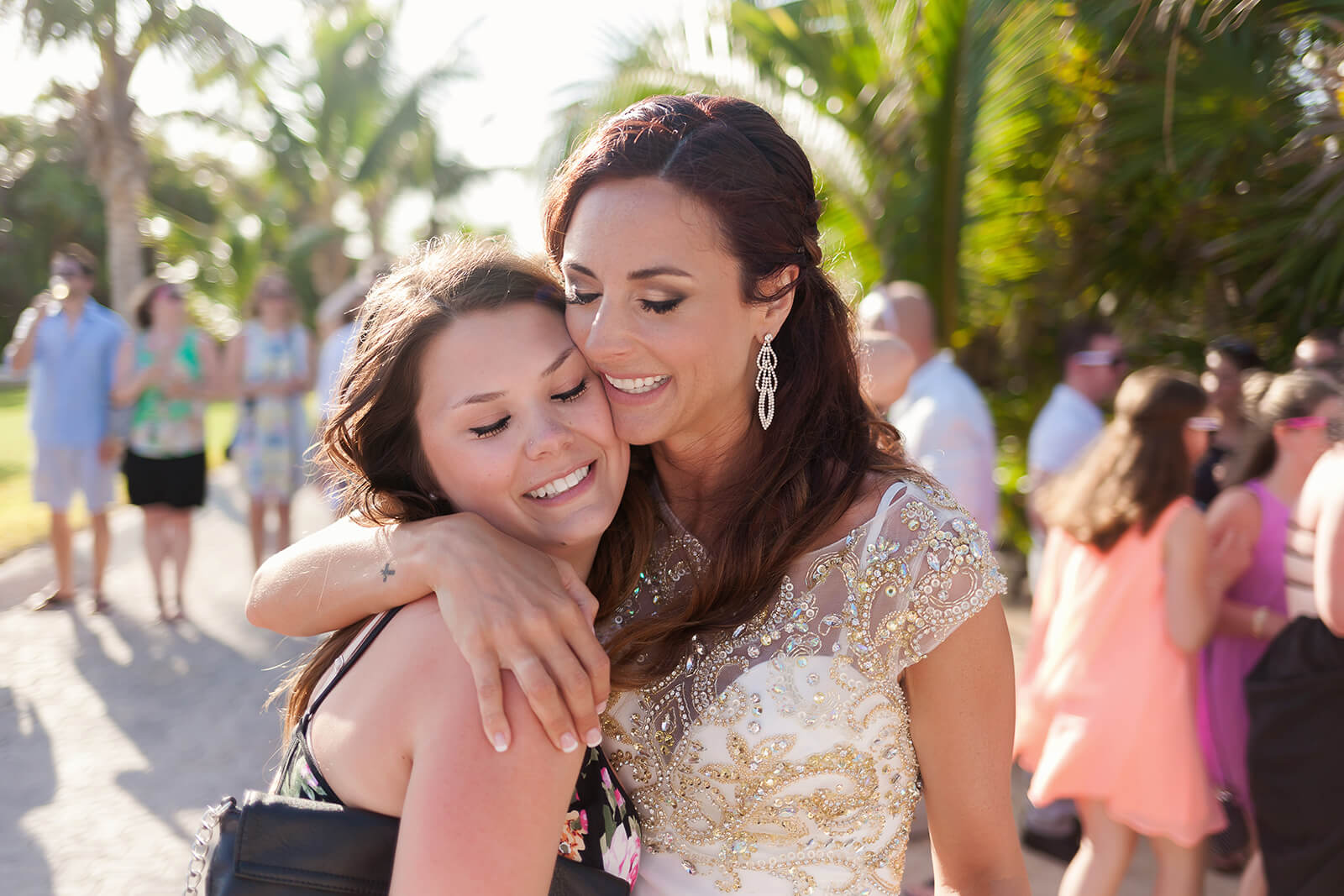 Bride and Friend moment at Grand Sirenis Riviera Maya Wedding