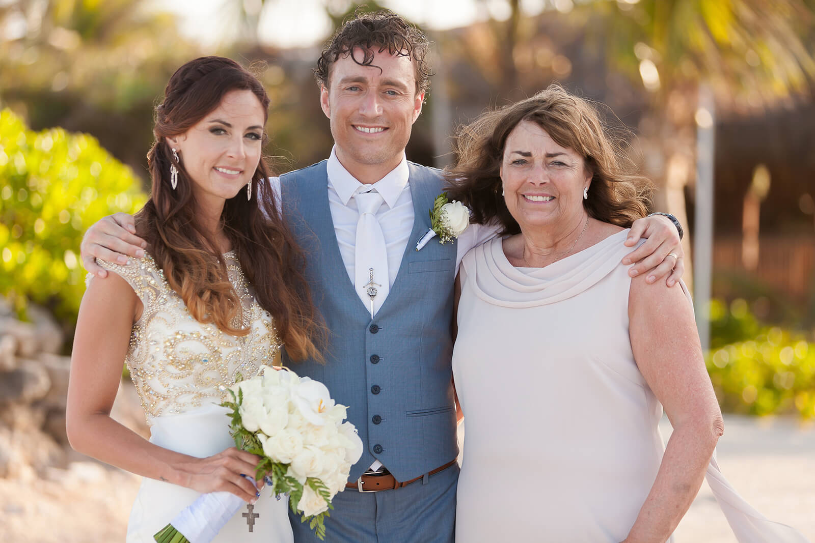 Bride and Groom Mother portrait Riviera Maya Wedding