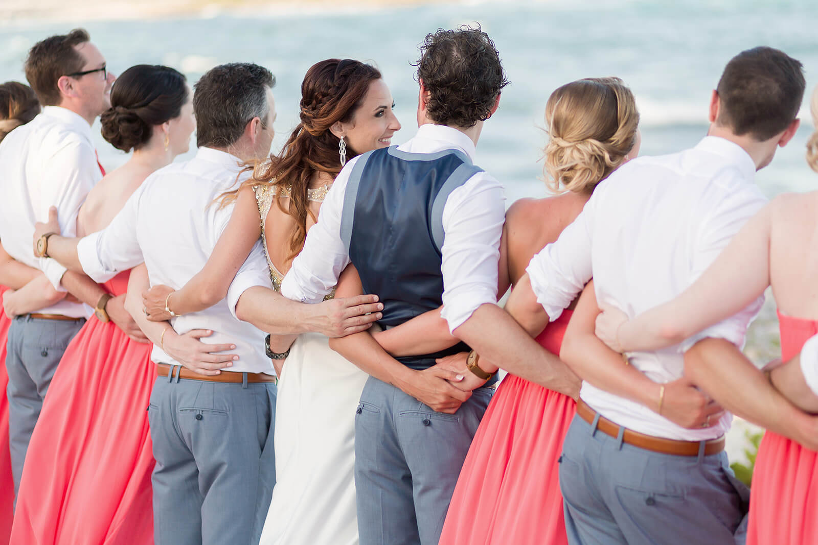 Bridal Party Portrait at the beach Grand Sirenis