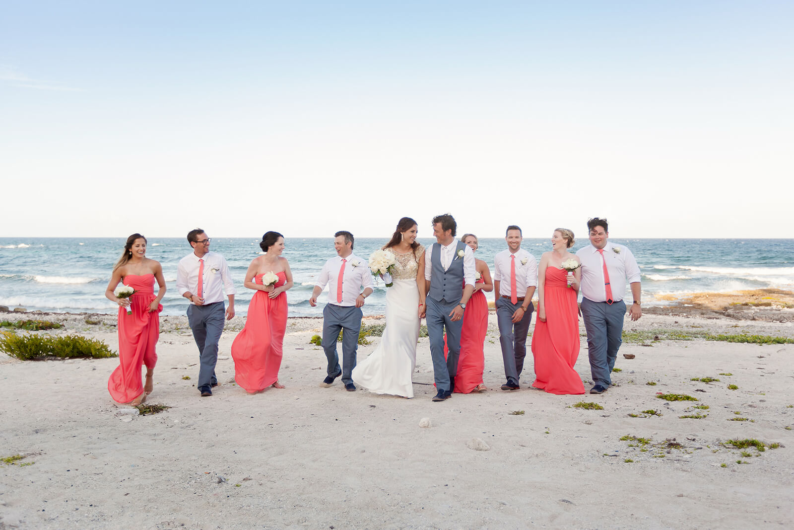 Bridal Party Beach Portrait Riviera Maya Wedding