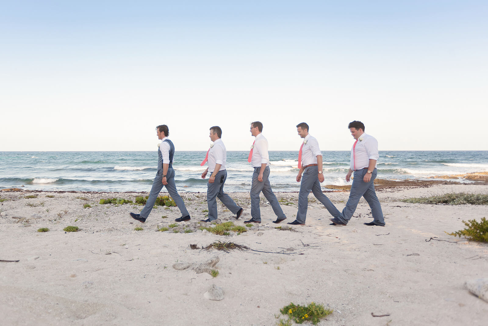 Groomsmen at the beach Riviera Maya Wedding