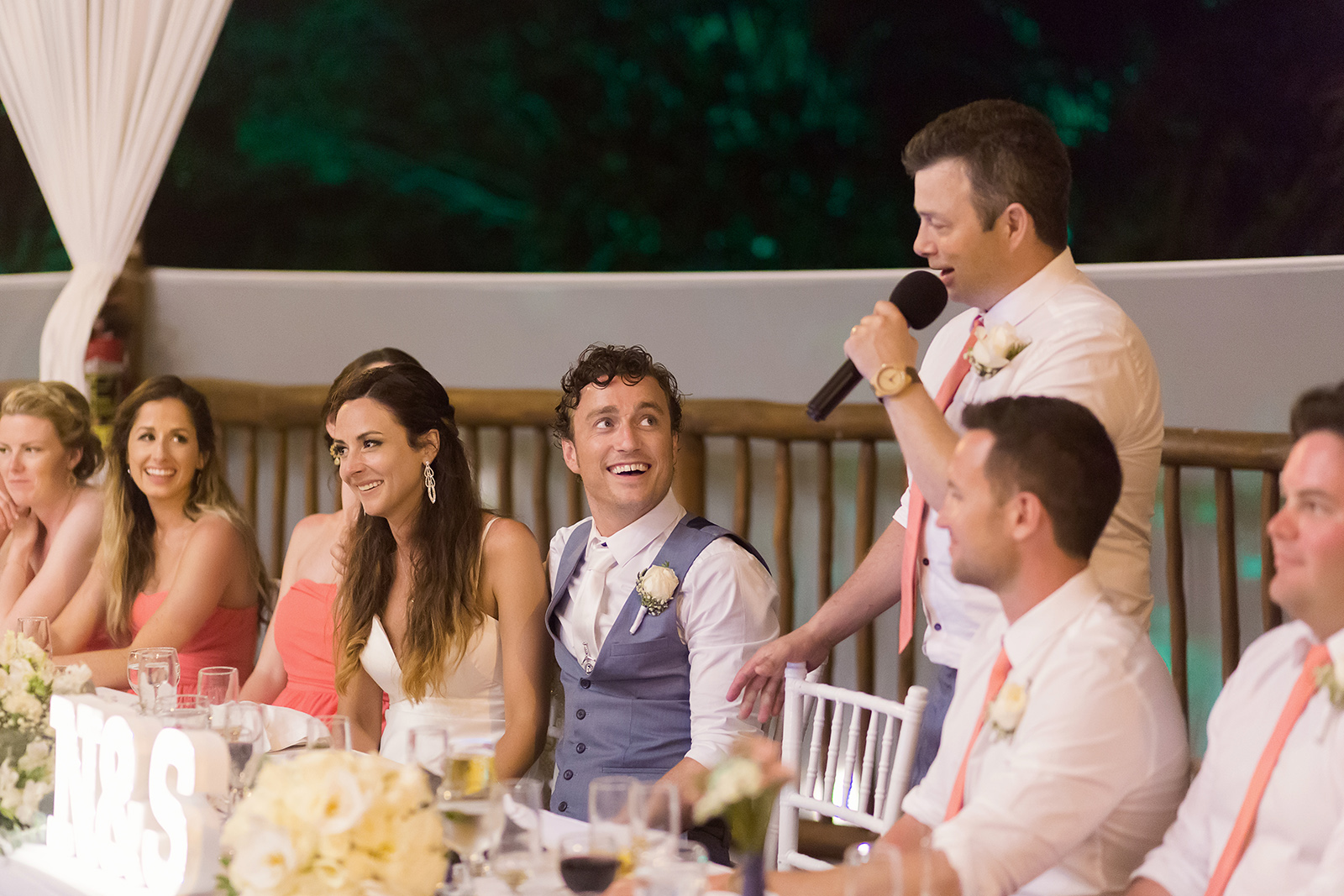 Guest giving speech at wedding reception at Grand Sirenis Riviera Maya