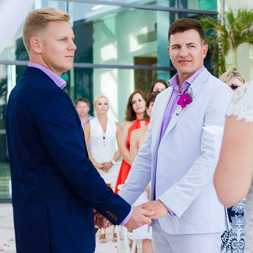 Grooms at gay wedding in Live Aqua Cancun