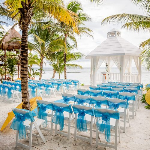 Beachside wedding ceremony location at El Dorado Seaside Suites