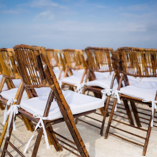 Close of of chairs at wedding ceremony in Tulum