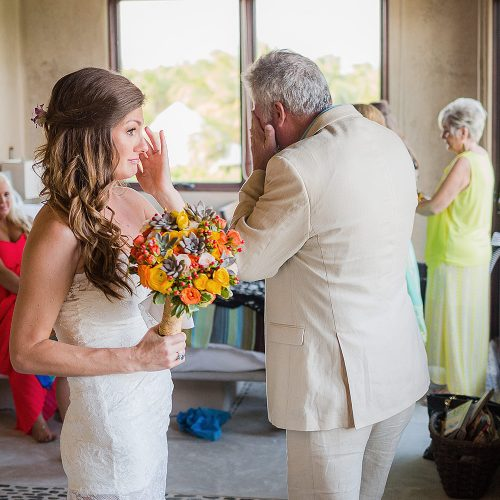 Bride and Father emotional after meeting before wedding ceremony