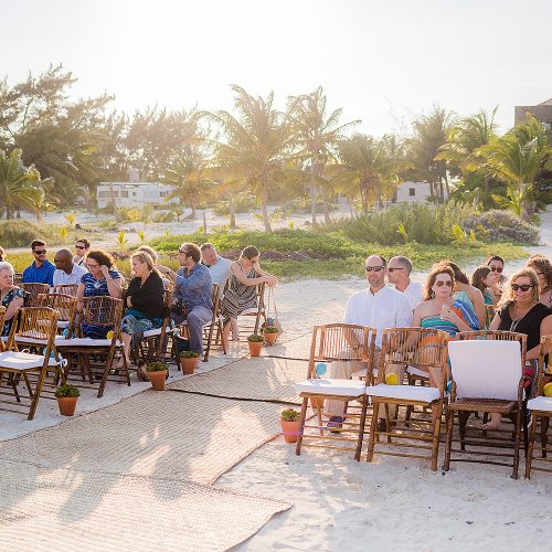 Wedding reception with guests in Tulum on beach