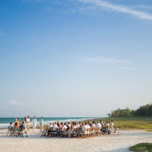 Wedding ceremony on the beach in Tulum.