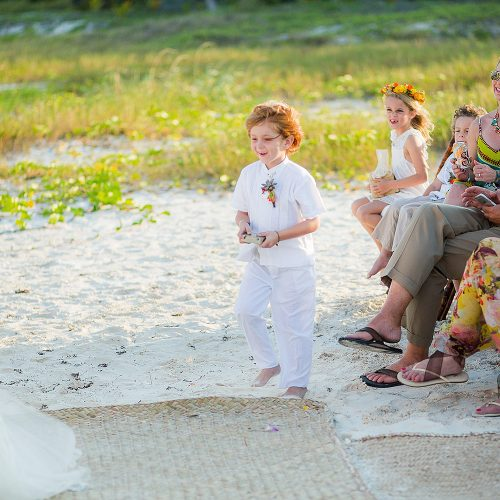 Ring bearer at wedding ceremony in Tulum