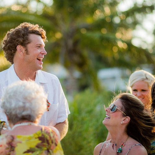 Guests laughing at Tulum wedding
