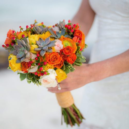 Close up of bridal bouquet at wedding.
