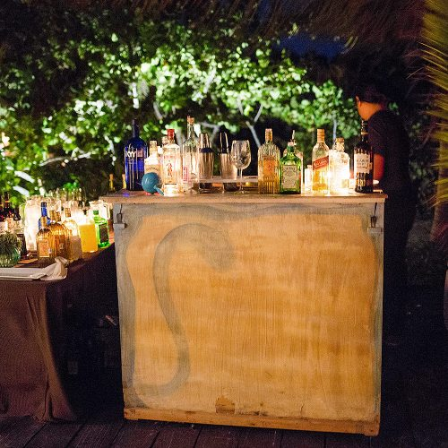 Unique bar setup at wedding in Tulum