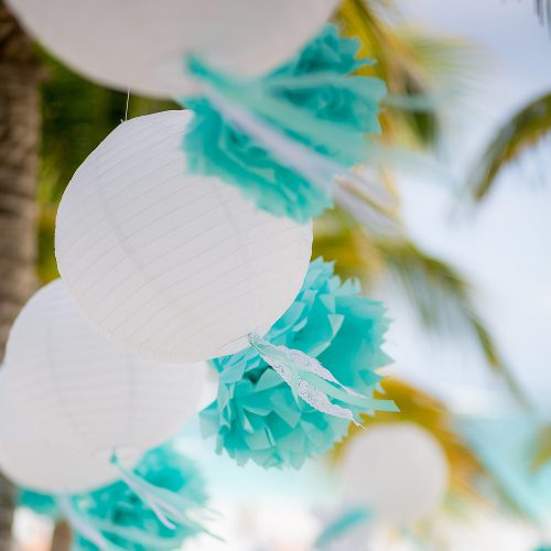 Decore at wedding on beach in Tulum