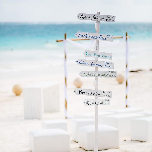 Sign at wedding in Tulum