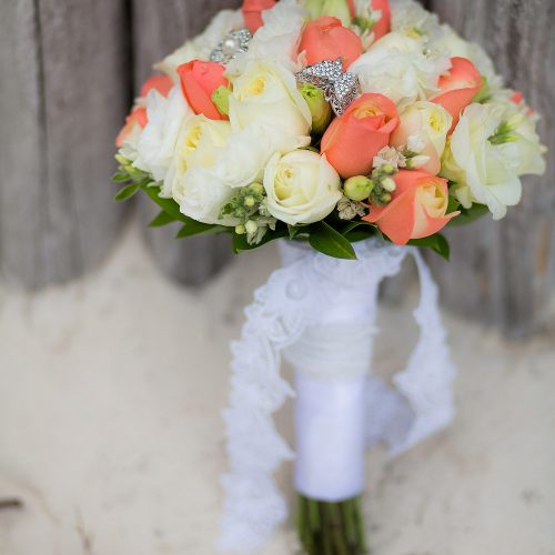 Bridal bouquet at wedding in Tulum