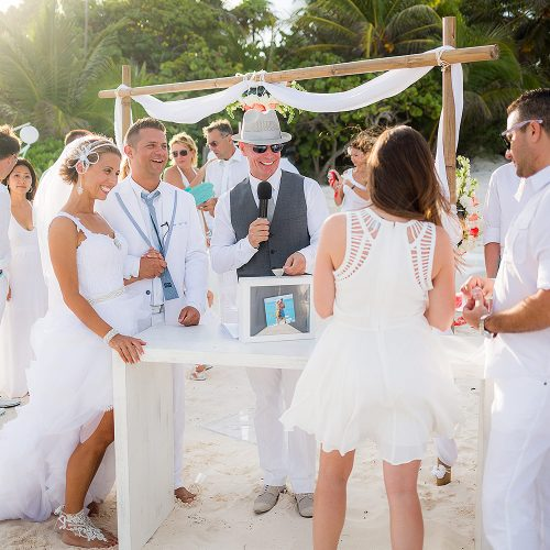 Wedding ceremony on beach at Hacienda Paraiso