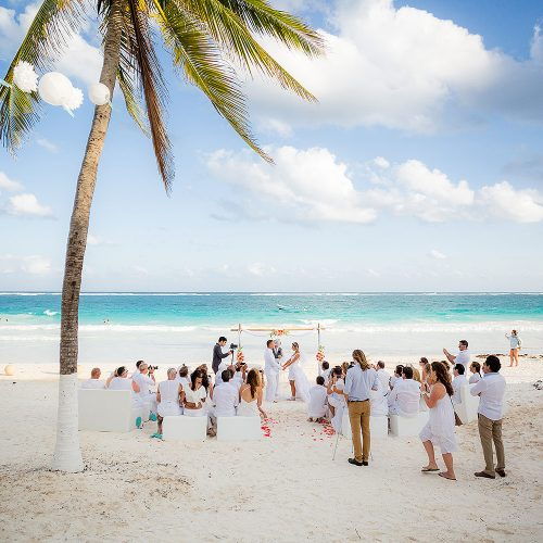 Wedding ceremony location on beach at Hacienda Paraiso, Tulum