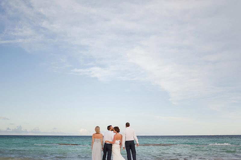 Wedding party on beach at Azul Fives, Riviera Maya
