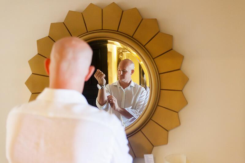 Groom getting ready at Secrets Maroma Riviera Cancun