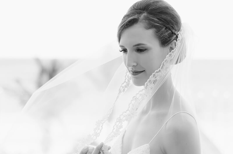 Black and White Bride portrait at Secrets Maroma Beach Riviera Cancun Resort