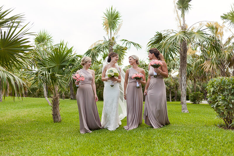 bridal party at garden photography at Secrets Maroma Beach Riviera Cancun Resort