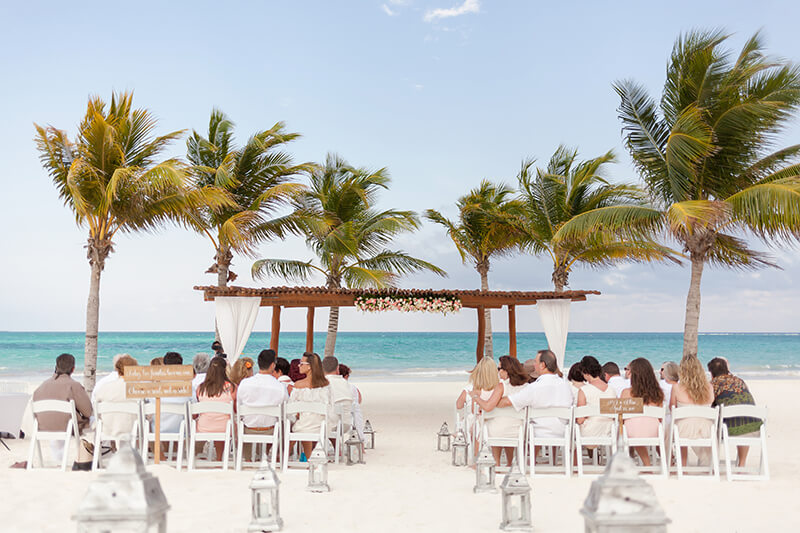 Set up for wedding at Secrets Maroma Beach Riviera Cancun Resort