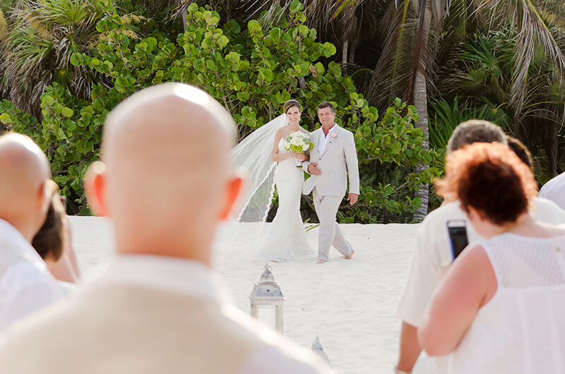 Father of the bride arriving to ceremony at Secrets Maroma Beach Riviera Cancun Resort wedding