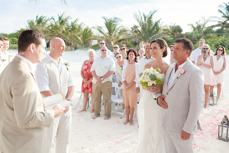Bride and father at Wedding beach at Secrets Maroma Beach Riviera Cancun Resort