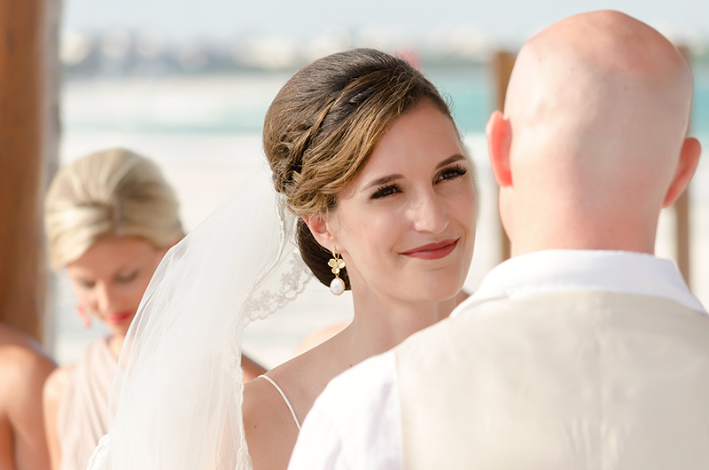 Close up of bride during wedding ceremony at Secrets Maroma beach Riviera Cancun Resort
