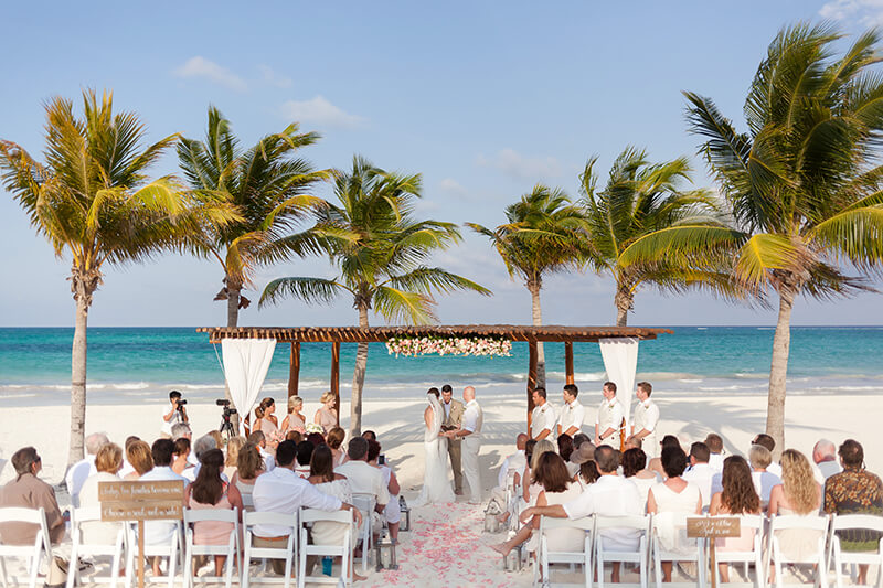 Beach wedding ceremony location set up at Secrets Maroma Beach wedding