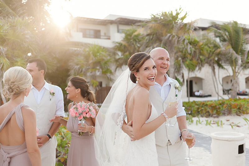 Couple portrait after wedding ceremony at Secrets Maroma Beach Riviera Cancun Resort